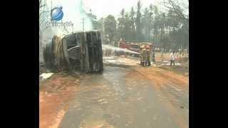 Puttur: Gas tanker fire at Uppinangady