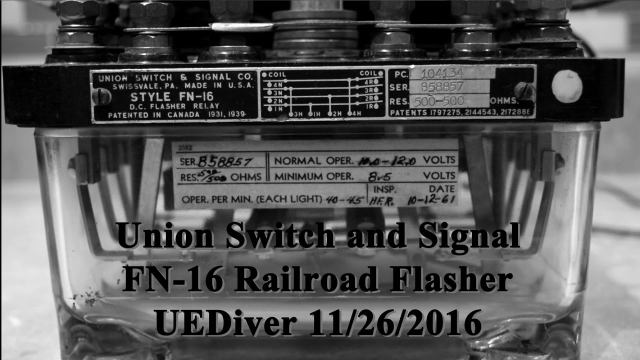Turn Signal Flasher >> (1080p) Railroad Grade Crossing Union Switch and Signal FN-16 Flasher Relay Demonstration 11/26 ...
