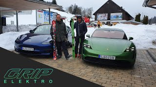 Porsche Taycan 4S vs. Tesla Model 3 Performance | GRIP Elektro