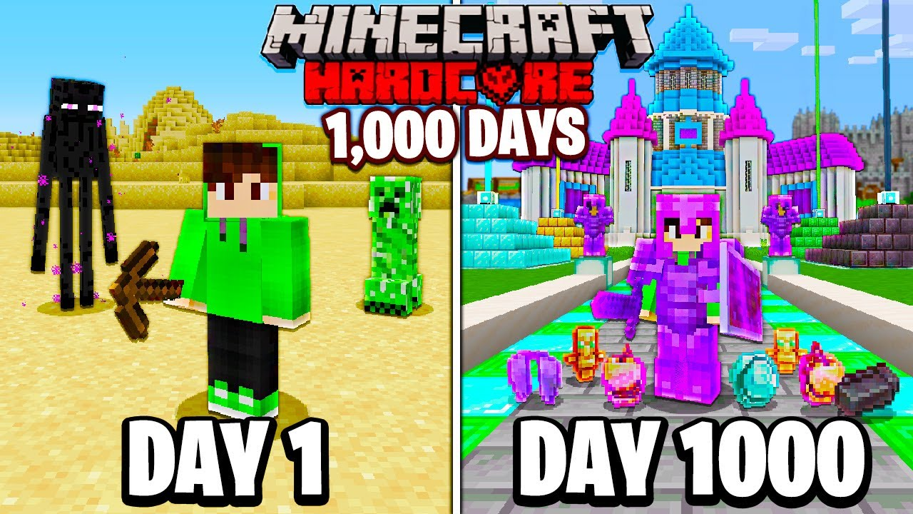 Download I Survived 1000 Days in HARDCORE Minecraft...