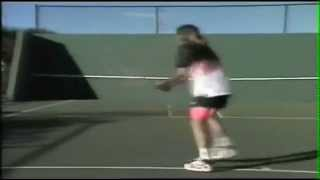 young andre agassi practicing on a wall awesome skills