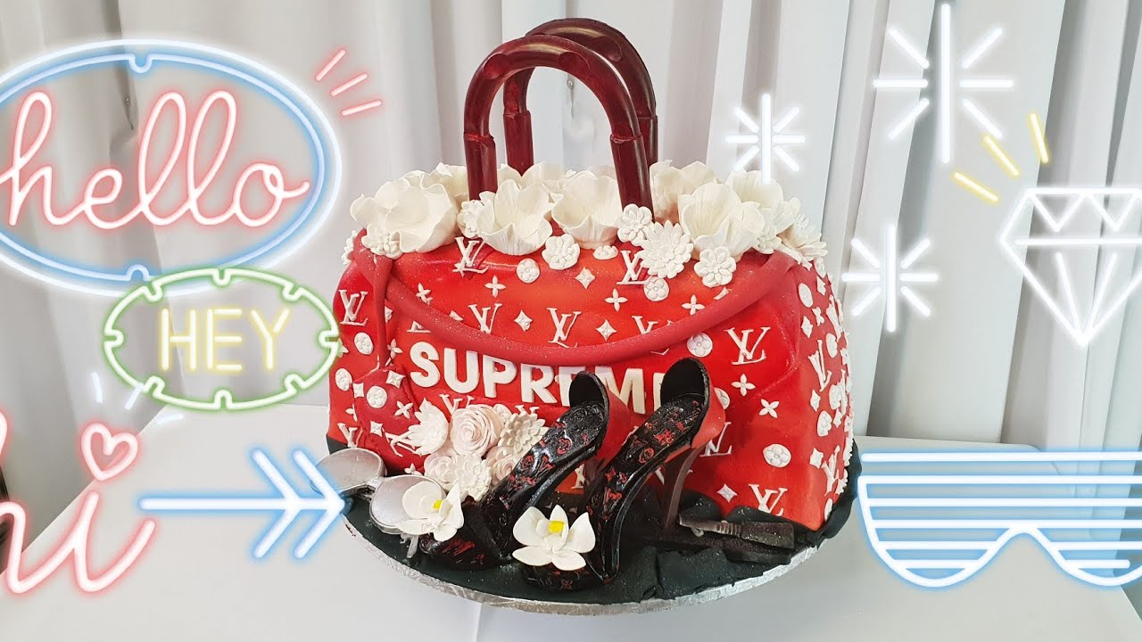 Supreme Louis Vuitton Hand Bag Cake - YouTube