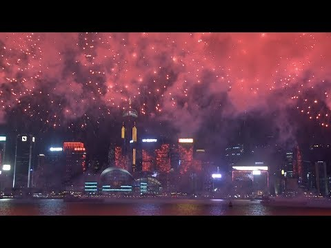 National Day Fireworks Show Lights up Hong Kong's Victoria Harbor
