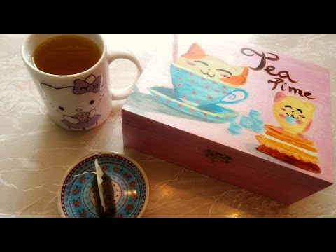 Painting a Cute Kitty Tea Box || DIY