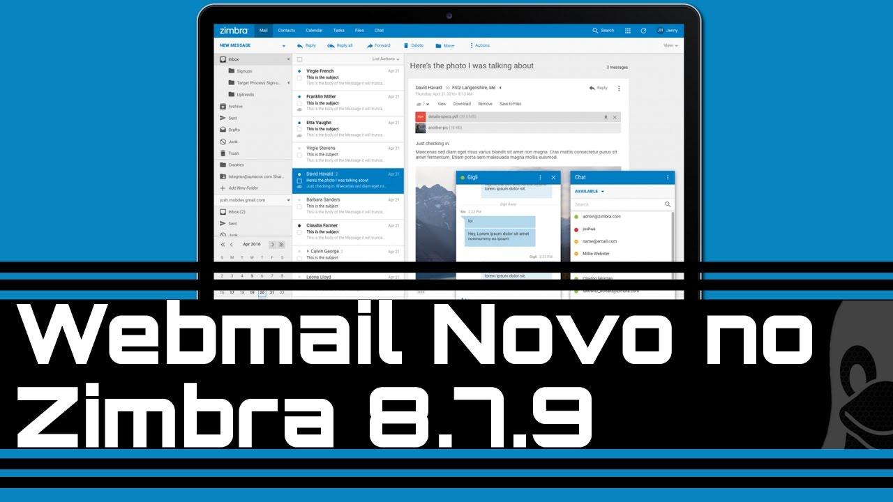 Webmail Novo no Zimbra 8 7 9
