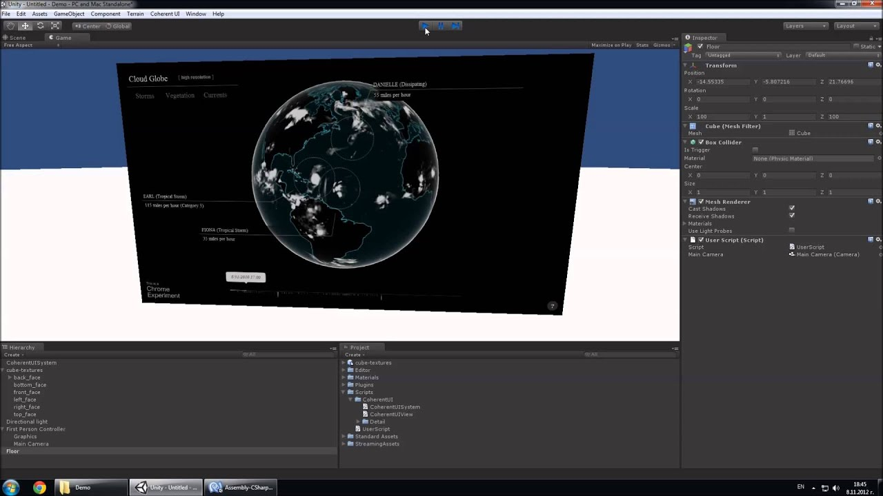 Coherent UI unity3D gui tool in the Unity3D editor