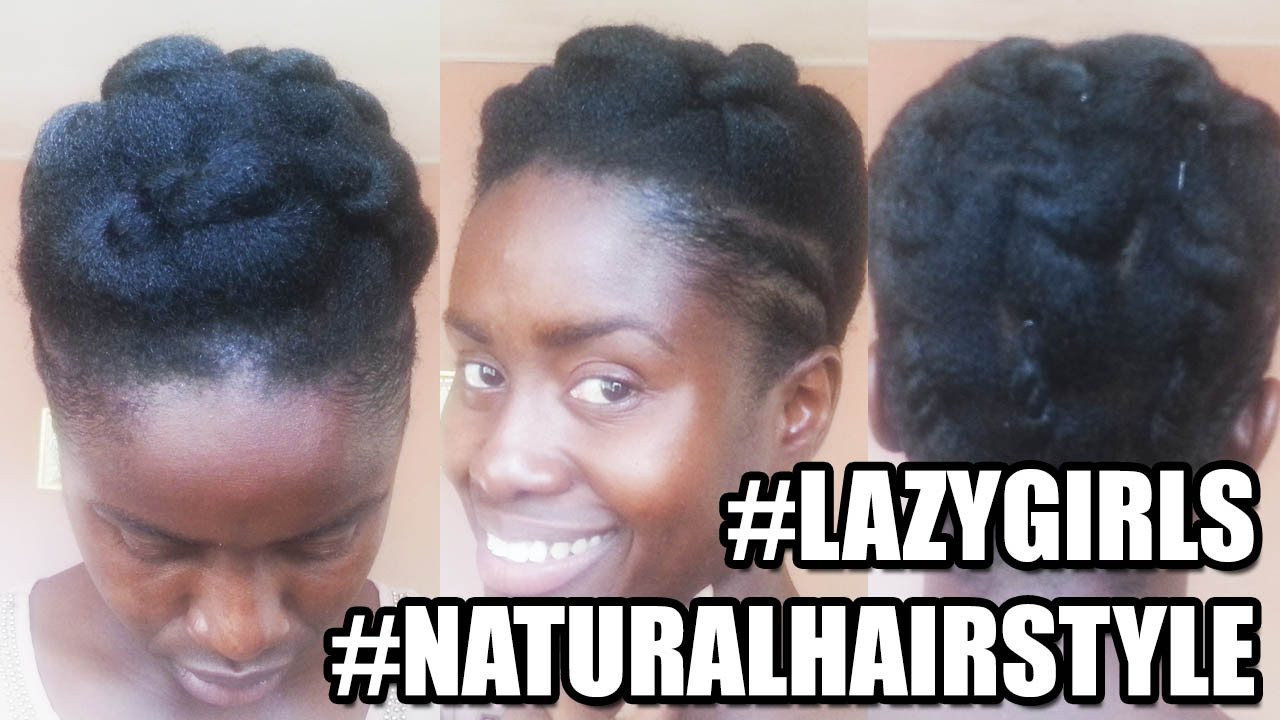 Lazy Girls Hairstyle for Short Natural Hair - YouTube