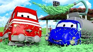 Поезд Трой -  Бензовоз Тайсон спасает машины Автомобильного города! - детский мультфильм