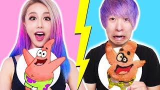 Download lagu GF VS BF Pancake Art Challenge Learn To Make Spongebob The Powerpuff Girls Emojis Pokemon MP3