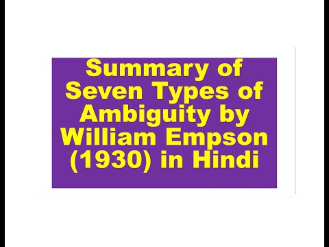 Summary Of Seven Types Of Ambiguity By William Empson (1930) In Hindi