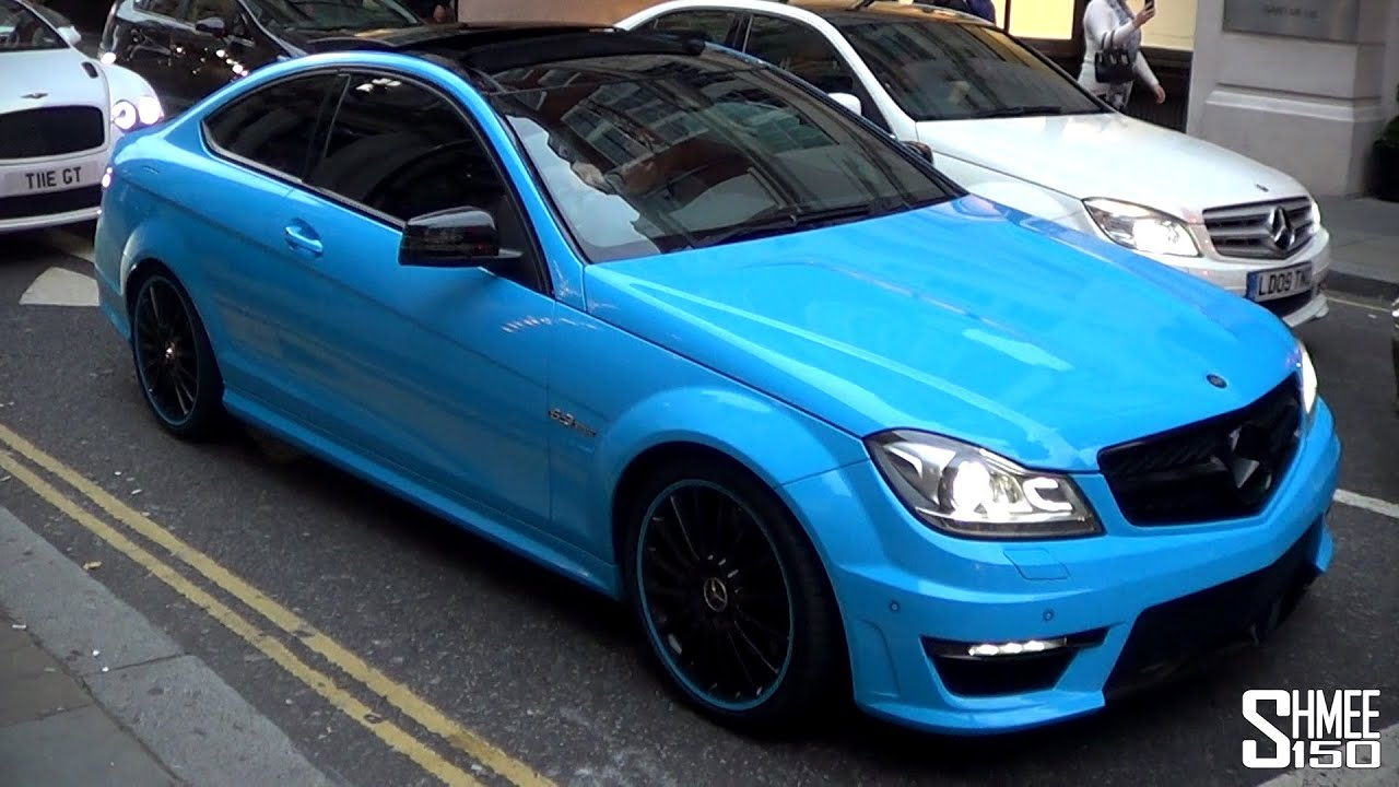 Baby Blue Mercedes C63 With Ipe Exhaust Slide And Lots