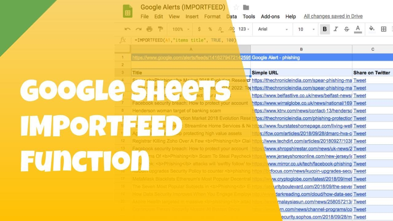 IMPORTFEED Function: Consolidate Multiple Google Alerts Into a Single  Google Sheets File
