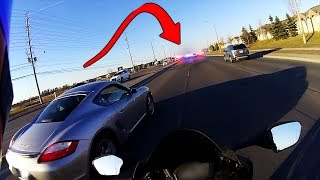 Racing In Front Of 3 Police Officers...