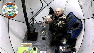 Зимняя рыбалка в палатке ловим день и ночь мороз 20 слияние трёх рек заряжаем донки