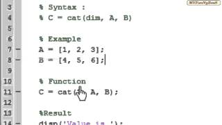 Matlab Function - Matrix Concatenation-cat( )