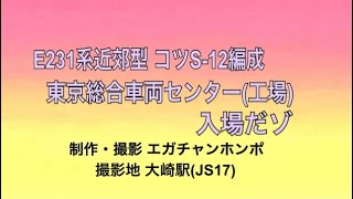 【TK入場】201225 E231系近郊型 コツS-12編成東京総合車両センター(工場)入場回送