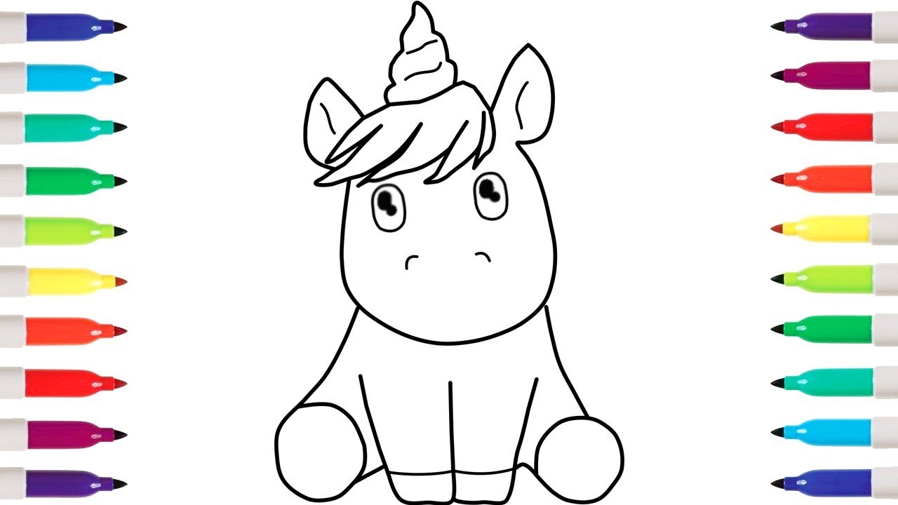 How To Draw UNICORN Coloring Pages Kid Drawing YouTube