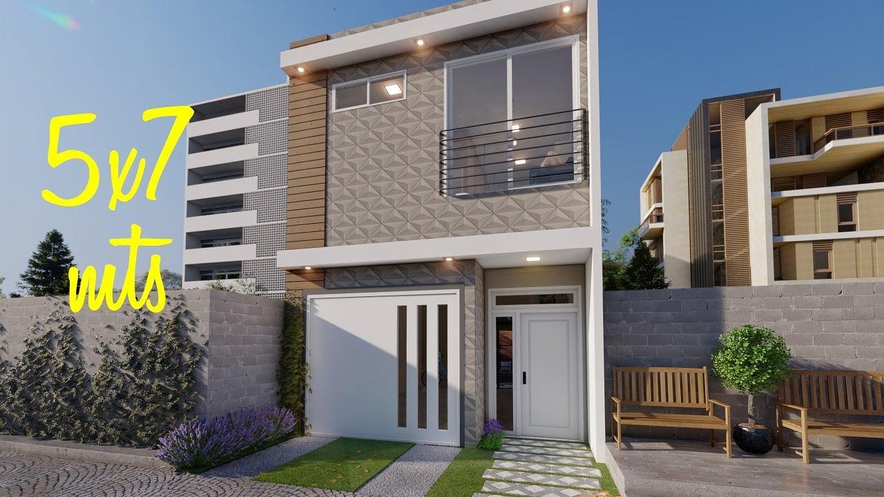 Casa 5x7 metros con cochera | Planos de casas pequeñas