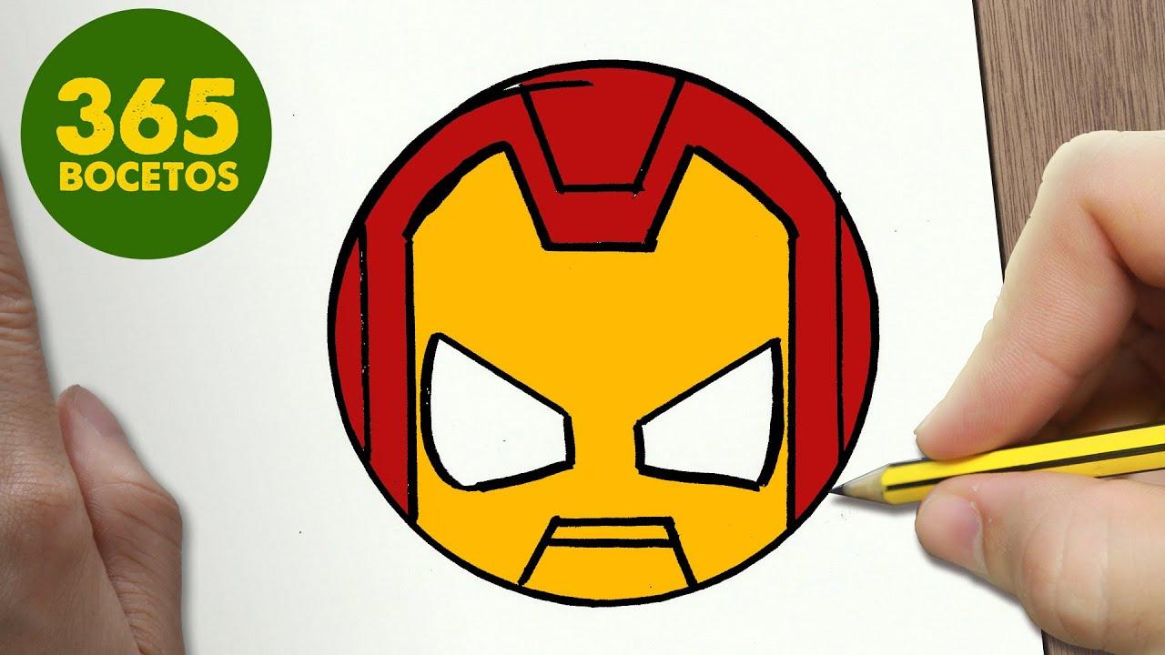 Como Dibujar Ironman Emoticonos Whatsapp Kawaii Paso A Paso Dibujos Kawaii Fáciles