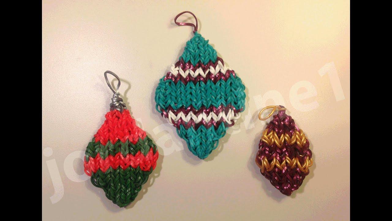 How To Make A Rainbow Loom Diamond Shaped Christmas Ornament Charm ...
