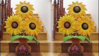 3D Origami Sunflower Tutorial | DIY Paper Sunflower Home Decoration