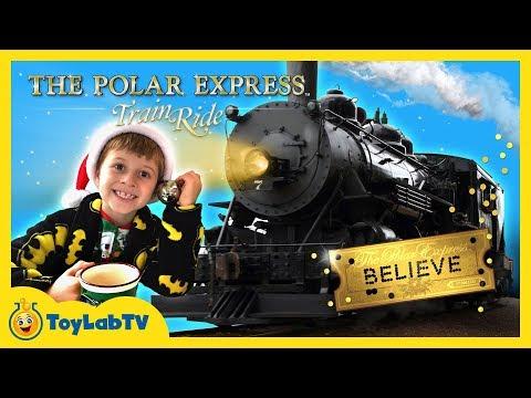 Santa Claus Surprise on the Polar Express! Family Fun Christmas Wish Train Ride for Kids on ToyLabTV