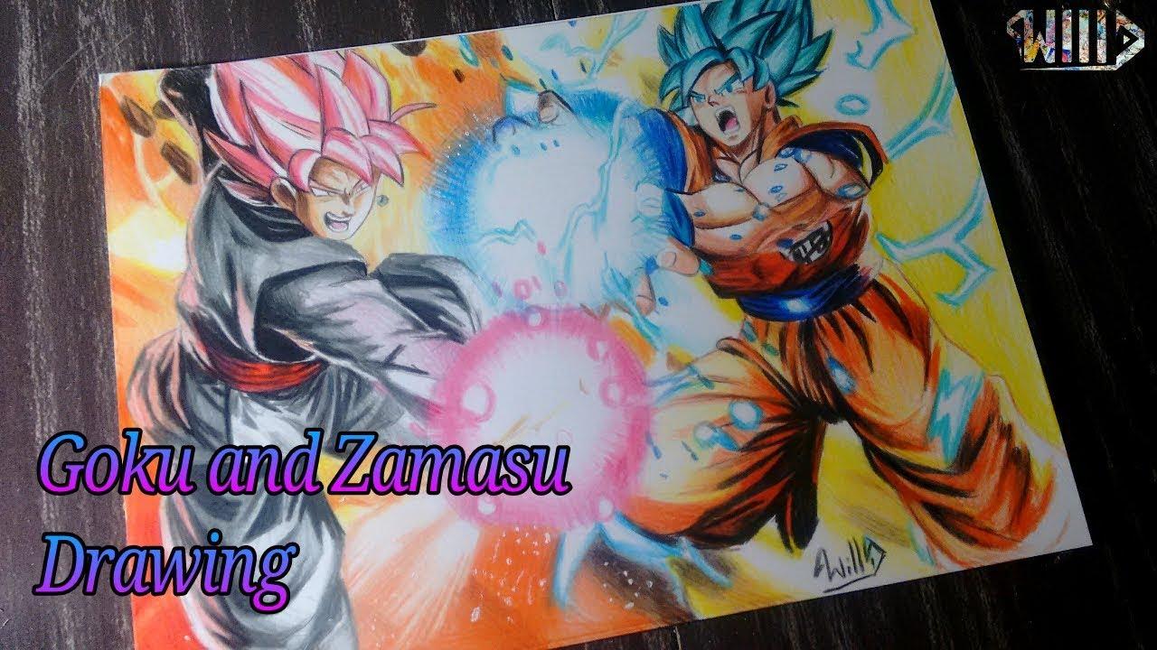Drawing - Goku and Zamasu (Dragon ball Super)
