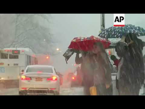 Snowfall in New York as storm hits northeast US