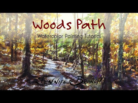 Watercolor Painting Tutorial, Woods Path