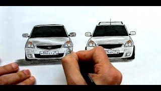 Как нарисовать машину Лада Приора поэтапно (Ehedov Elnur)
