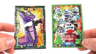 Kristall Karten VS Neon Karten / LEGO Ninjago Trading Card Game Duell Serie 4 & 5
