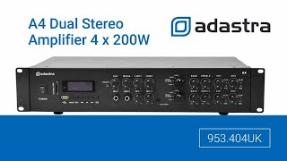 Adastra A4 Dual Stereo PA Amplifier 4 x 200W - 953.404UK