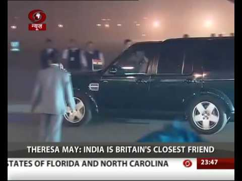 British PM Theresa May arrives in India for three-day visit