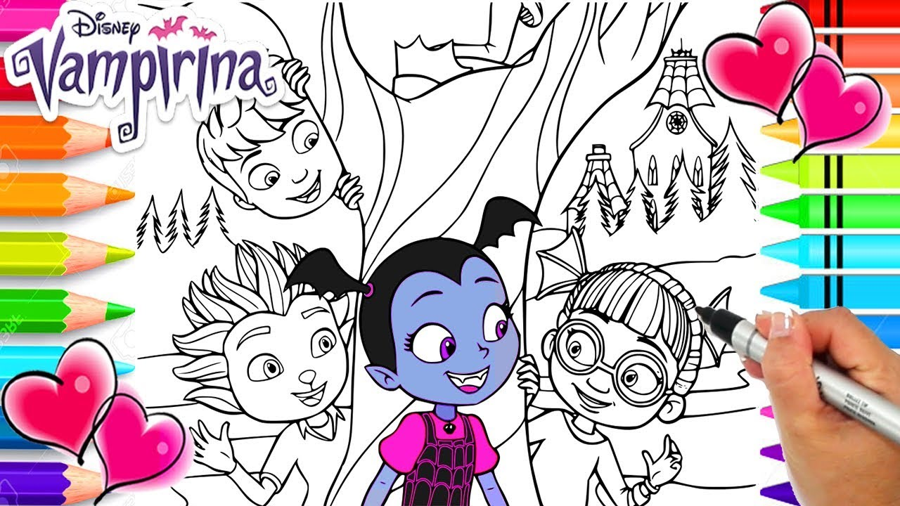 Vampirina And Friends From Transylvania Coloring Page | Vampirina Coloring  Book | Disney Jr.