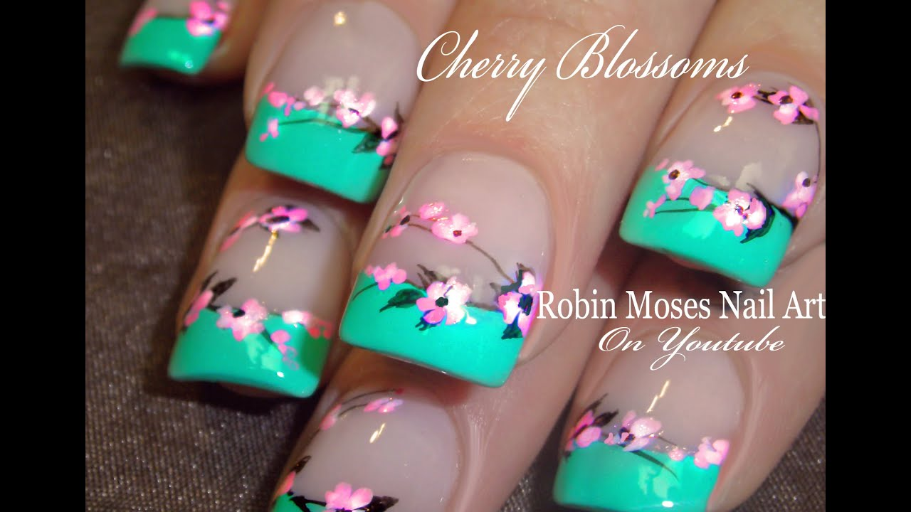 Easy Cherry Blossom Nails | Spring Flower Nail Art Design Tutorial ...