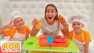 블라드와 니키타는 엄마를 위해 카페와 요리를하는 척