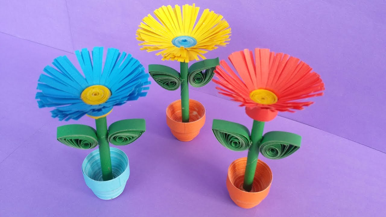 Diy quilling miniature 3d flower pot how to make 3d flower pot diy quilling miniature 3d flower pot how to make 3d flower pot with paper mightylinksfo