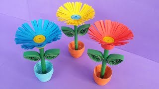 DIY: Quilling Miniature 3D Flower Pot !!! How to Make 3D Flower Pot With Paper !!!