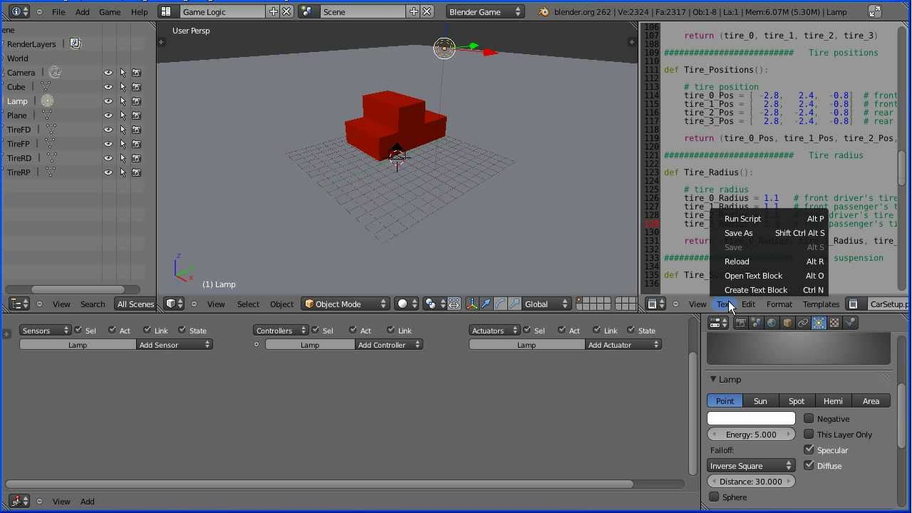 Blender Tutorial Using a Model of a Car in the Game Engine (Bullet Physics  Vehicle Simulation)