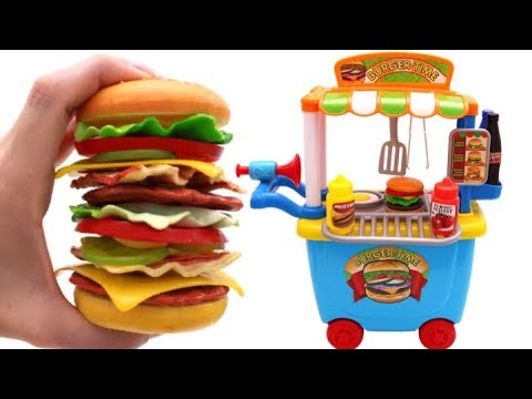 Thumbnail: Learn Fruits & Vegetables with Giant Toy Hamburger Just Like Home Microwave