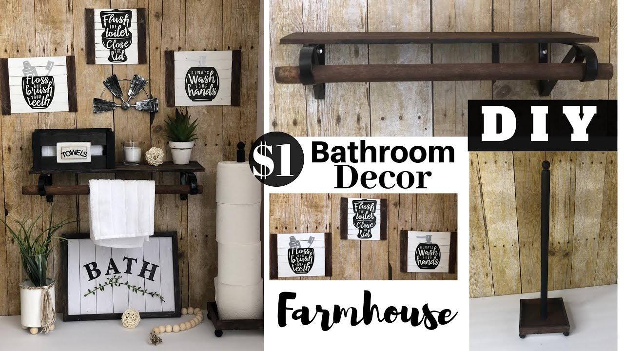 Dollar Tree Diy Farmhouse Bathroom Decor Youtube