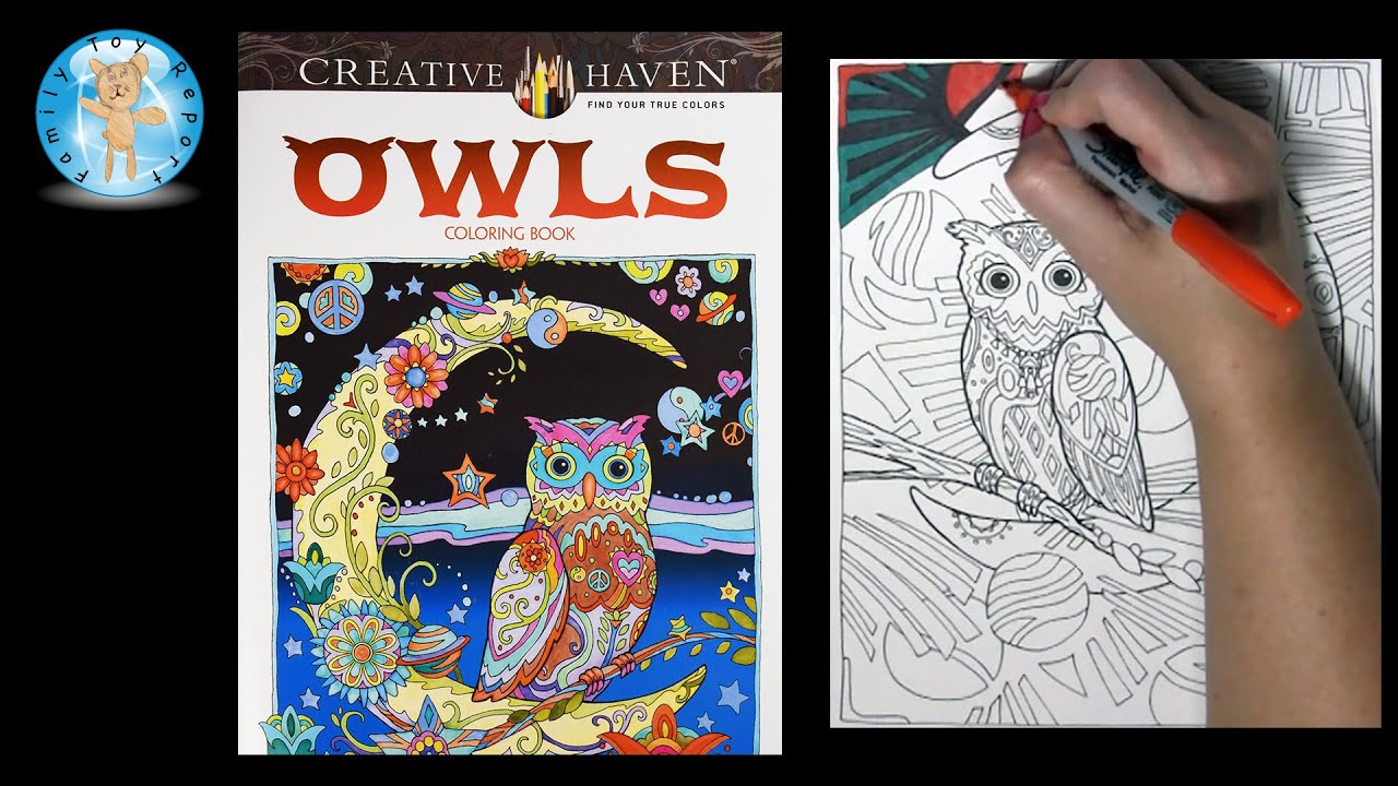 Creative Haven Owls By Marjorie Sarnat Adult Coloring Book Moon