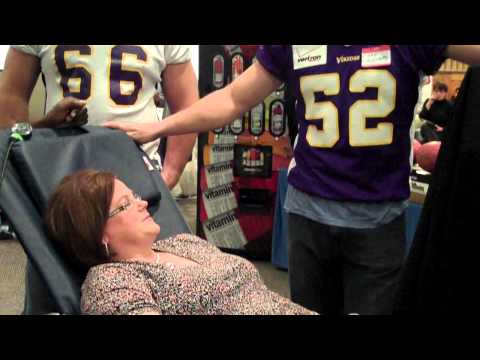 Chad Greenway Interviews a Blood Donor
