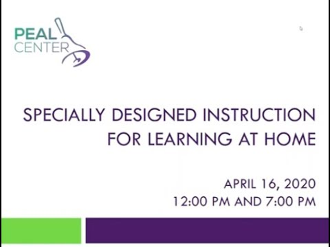 Specially Designed Instruction (SDI) while Learning from Home