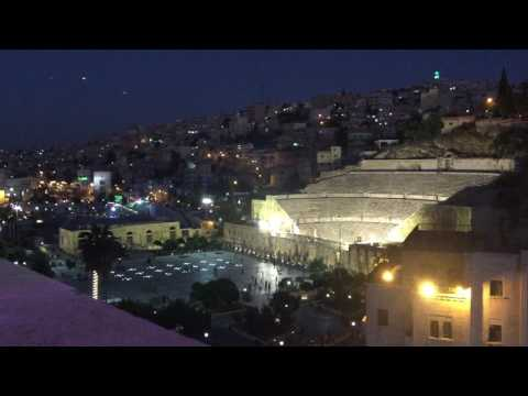 Roman Theater of Amman, Jordan by night