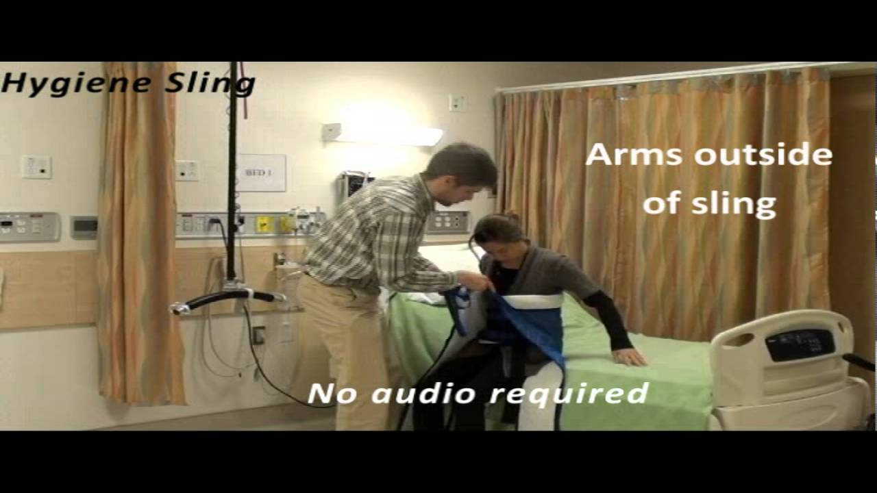 Transfer to commode with hygiene sling - YouTube