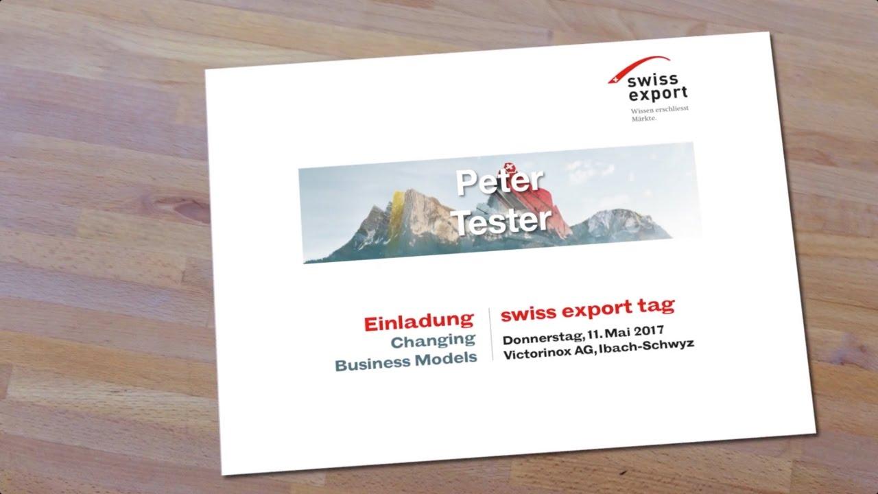 swiss export tag 2017 - persönliche einladung - youtube, Einladung