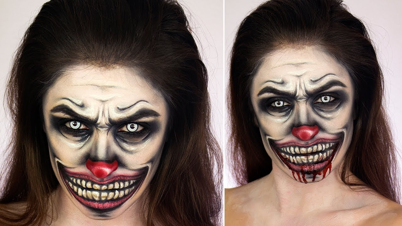 creepy clown face paint halloween make up tutorial