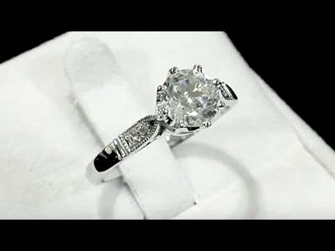 1.25 ct Diamond and Platinum Solitaire Ring - Vintage and Contemporary - AC Silver A5409