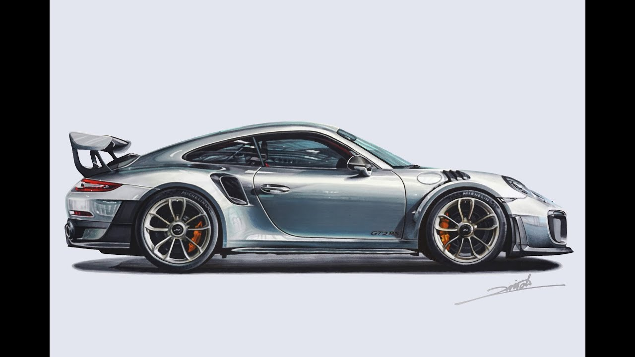 73b26778b182 Porsche 911 GT2 RS Drawing - YouTube